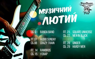 Анонс виступів живої музики у лютому